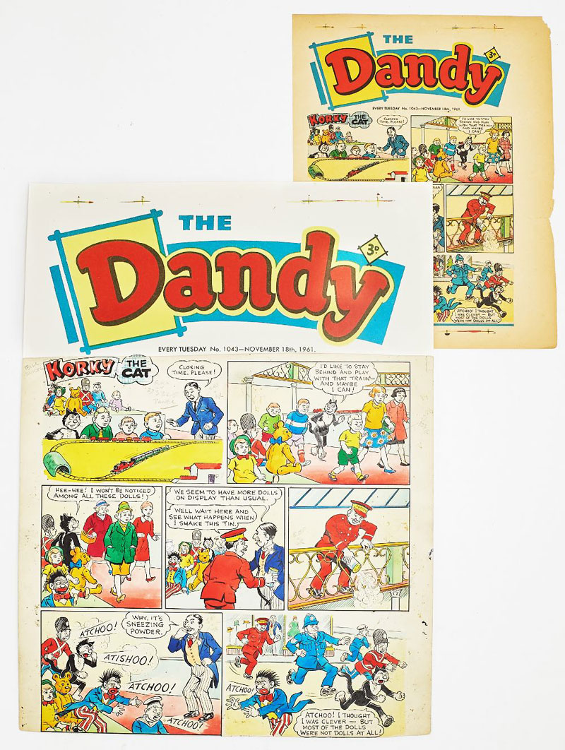 Dandy/Korky The Cat original front cover artwork by Jimmy Crighton from The Dandy 1043 (Nov 18 1961). Korky has a super wheeze but ends up with a great big sneeze! With original front cover printers proof. Bright poster colour and indian ink on cartridge paper. 19 x14 ins.'The Dandy' header is a laser colour copy