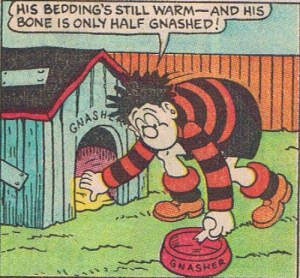 Dennis searches for Gnasher in Beano 2279, back in 1986