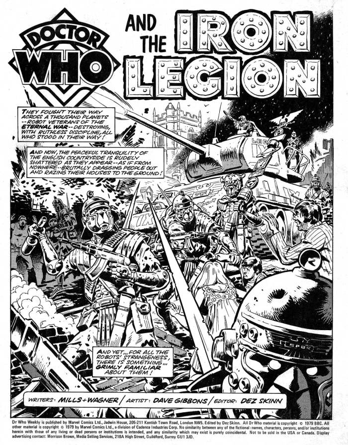 """The opening page of """"The Iron Legion"""" from Doctor Who Weekly Issue One, published in 1979"""