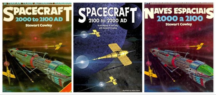 The covers of some of the original editions ofSpacecraft 2000 to 2100 AD, including the re-issue, Spacecraft 2000 to 2200 AD, published in 2006 by Morrigan Press