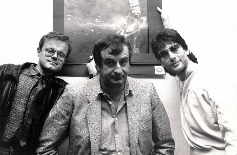 Forbidden Planet's Nick Landau, Douglas Adams and author Neil Gaiman at a signing in 1987