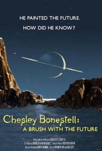 The poster for Chesley Bonestell: A Brush With The Future utilises one of Bonestell's most memorable images, a view of Saturn from Titan, conjured for Life magazine in 1944