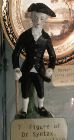 """Derby Pocelain figure of Dr Syntax, on display in Derby Museum and Art Gallery. Image by """"Victuallers"""" via Wikimedia"""