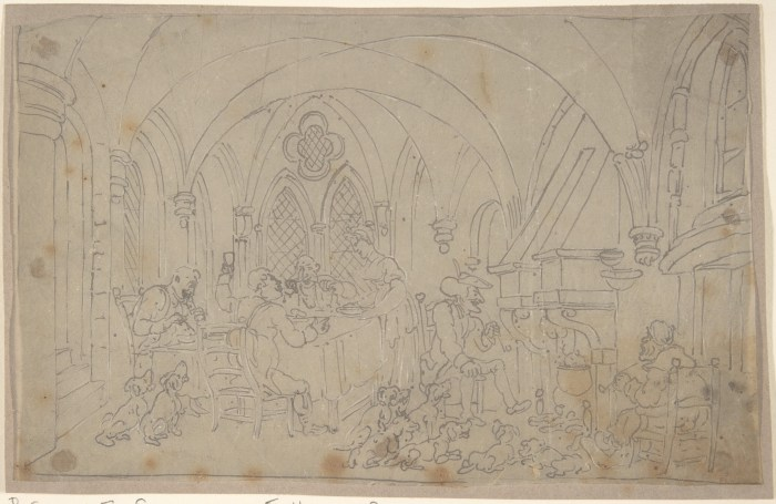 """Thomas Rowlandson's pencils for the 1820 illustration """"Dr. Syntax and Fox Hunters"""". Image via the Internet Archive"""