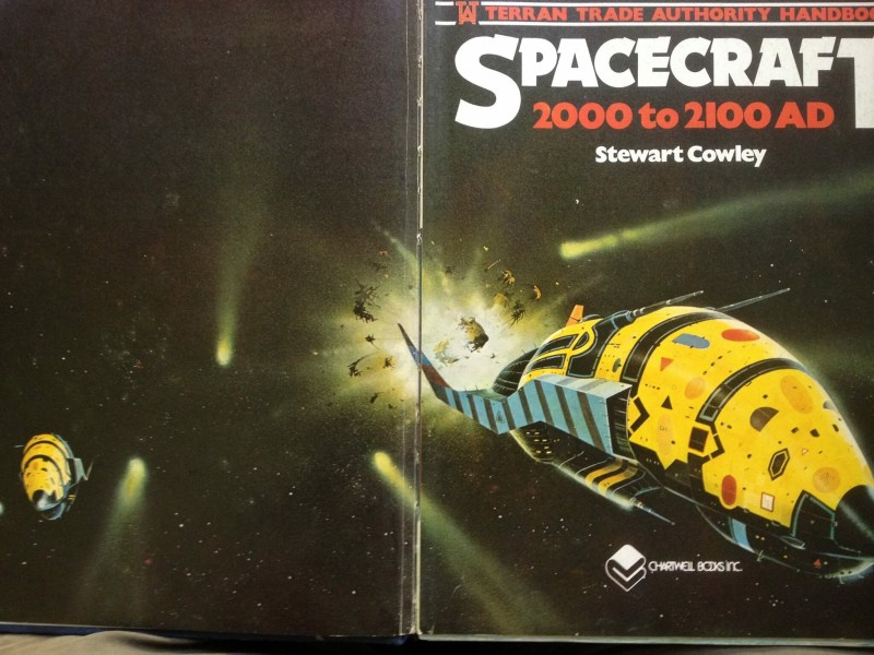 The opening pages of Spacecraft 2000 to 2100 AD. The art by Chris Foss was used as the cover of the Japanese edition