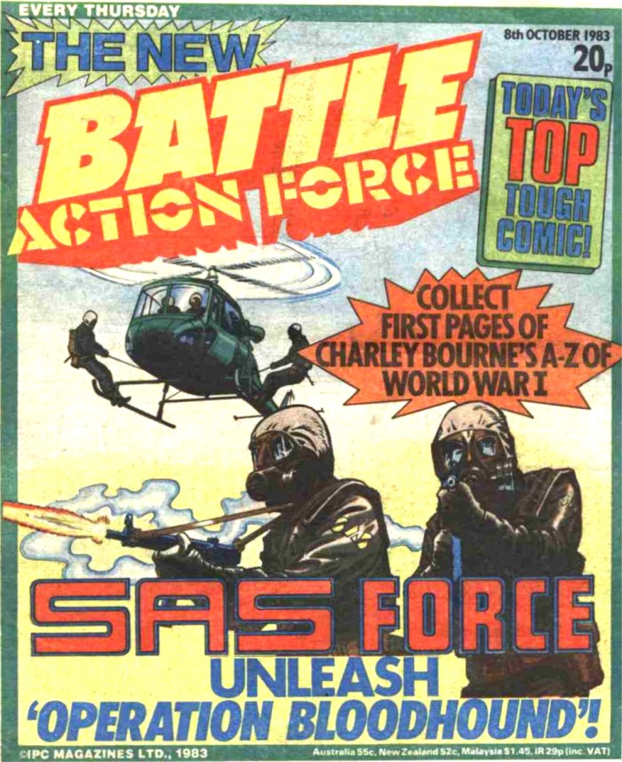 Action Force begins its regular run with the issue of Battle Action Force cover dated 8th October 1983