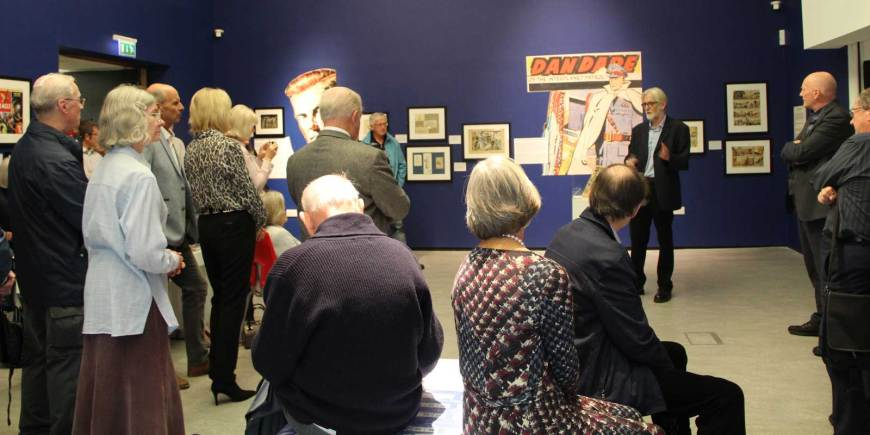 "Peter Hampson at the launch of ""Frank Hampson – The Man Who Drew Dan Dare"" at the Atkinson, Southport. Image courtesy The Atkinson"