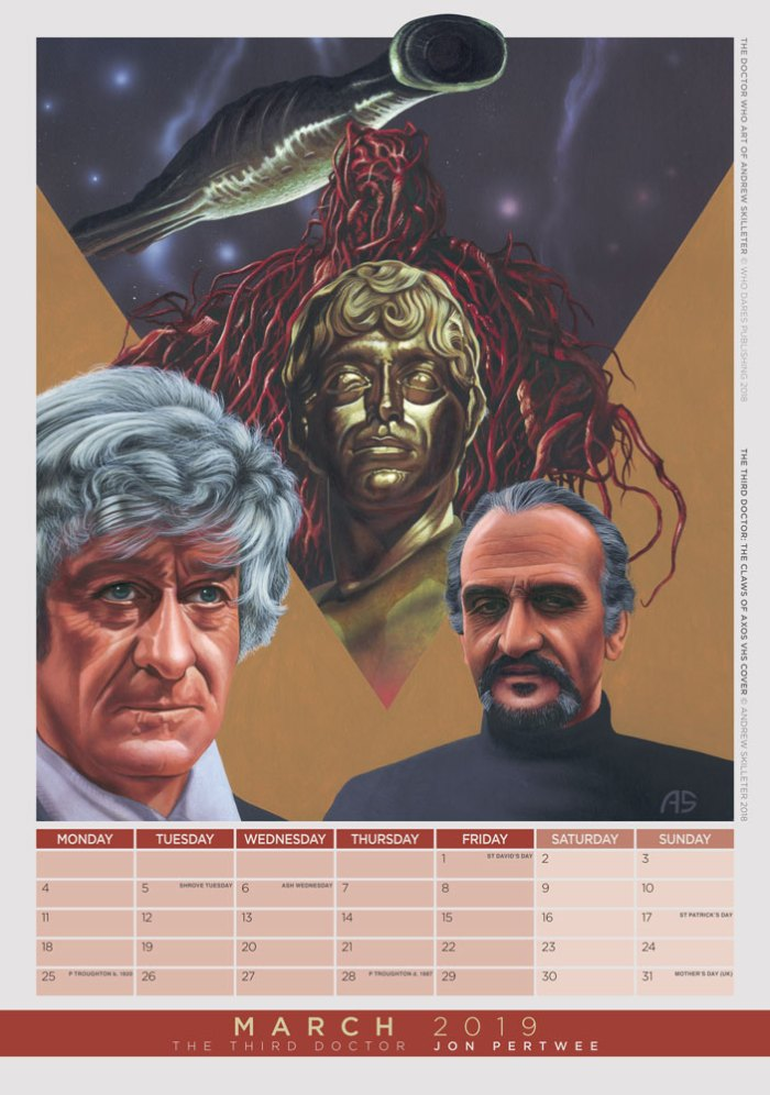 The Doctor Who Art of Andrew Skilleter 2019 Limited Edition Calendar - March - Jon Pertwee