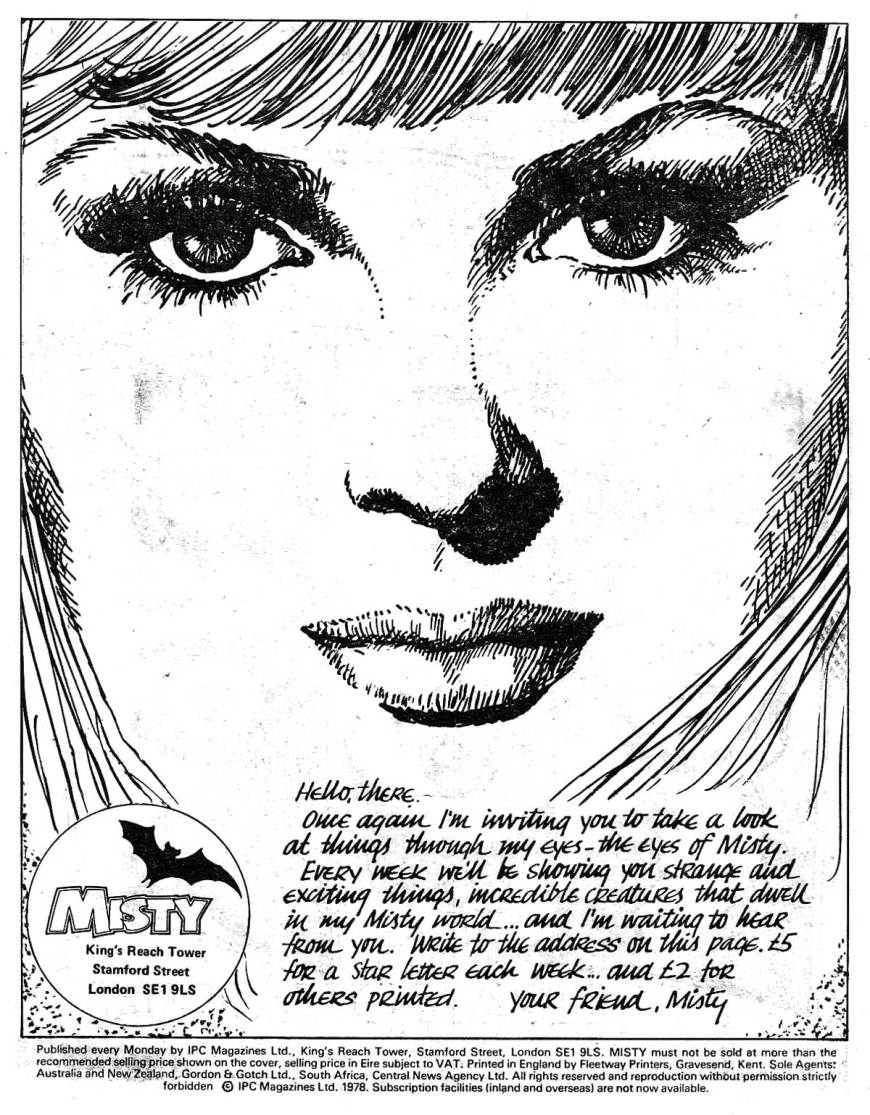 The simple but effective intorduction page to Misty Issue 6, with art by Shirley Bellwood