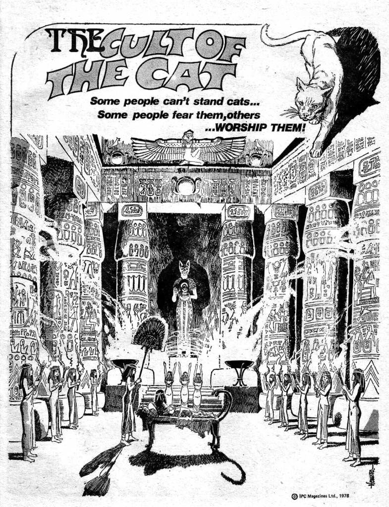 """The opening page of the first episode of """"Cult of the Cat"""" from Misty Issue One. Art by Homero Romeu, real name Jaime Rumeu. The strip has been attributed to Bill Harrington, who wrote most of Misty's historical style tales."""