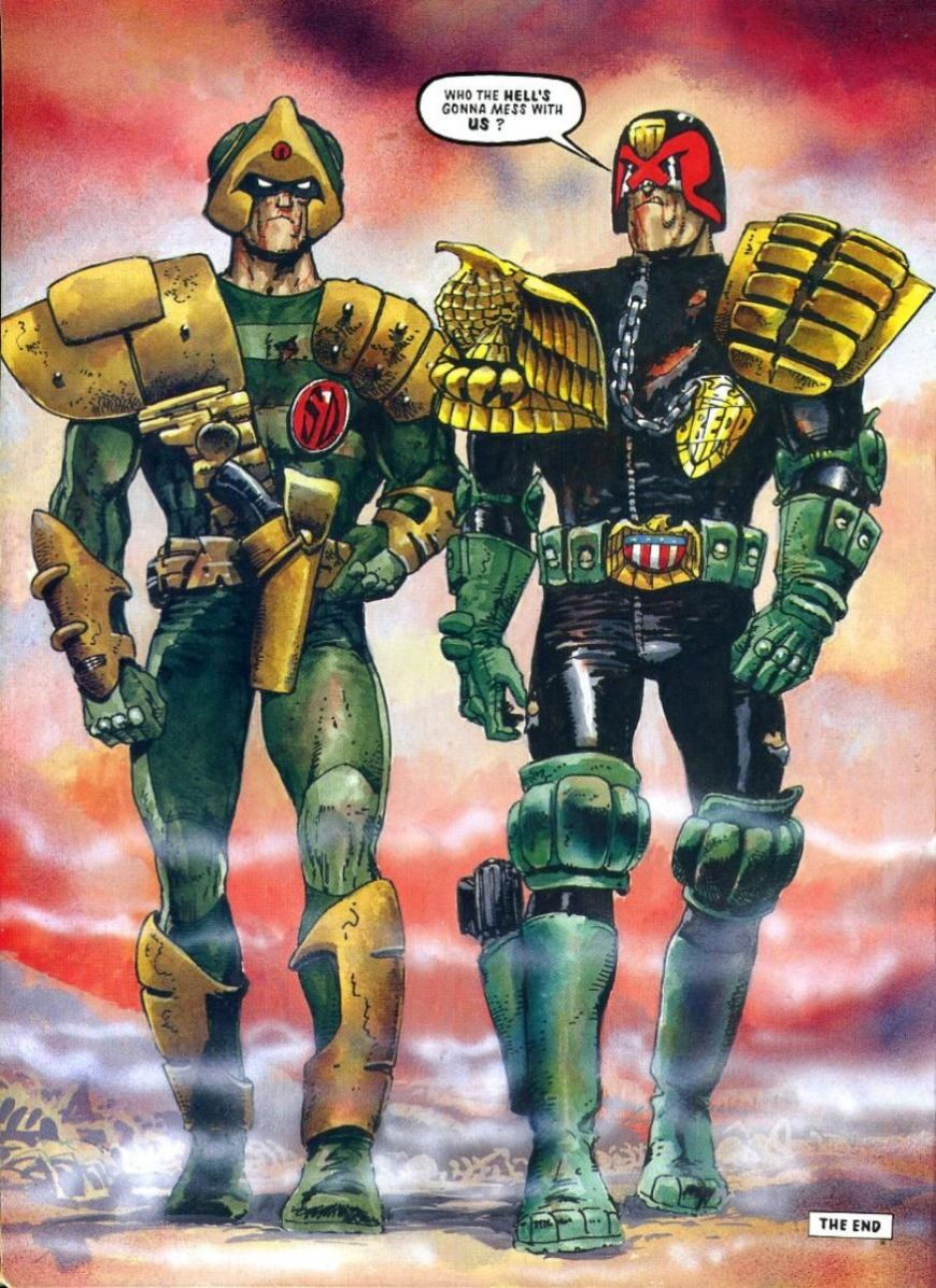 (Above, two of Carlos's most beloved and long-lived characters together, Johnny Alpha and Judge Dredd; below: one of Carlos' original visualisations for what would become Mega City One, both © Rebellion)