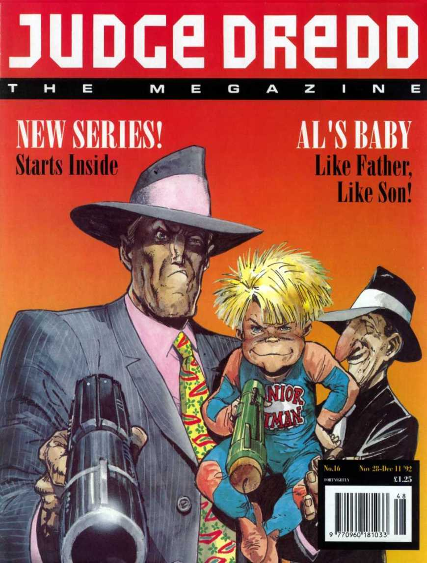 """Al's Baby"", written by John Wagner with art by Carlos Ezquerra, debuts in Judge Dredd Megazine Issue 16, published in December 1992. © Rebelllion"