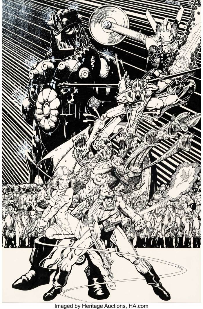 Arthur Adams Micronauts Unpublished Pin-Up Original Art (Marvel, 1983). A piece that pre-dates his first published comics work, this is a simply stop-you-in-your-tracks show-piece, stuffed full of detail and an obvious love for the subject matter! This pin-up features the looming figure of Baron Karza above the main Micronauts players of Acroyear, Bug, Huntarr, Marionette, Fireflyte, and Arcturus Rann (not to mention a slew of Karza's guards).