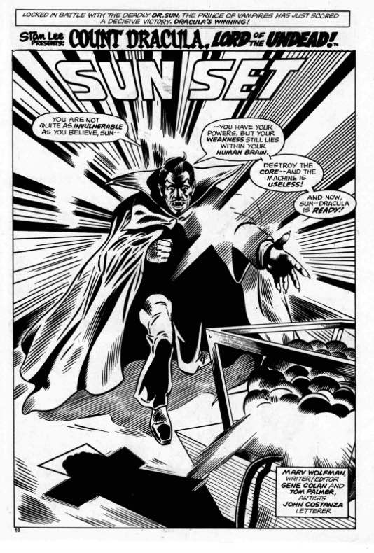 A Dracula splash page by Jeff Aclin, created for an issue of Planet of the Apes, an extra