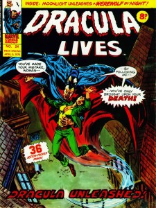 The cover of Marvel UK's Dracula Lives Issue 24 is inspired by Frank Brunner's cover for Tomb of Dracula #12