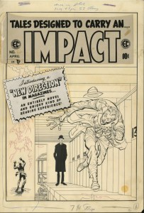 "Jack Davis' cover promoting ""Master Race"" for EC's Impact #1, published in 1955"