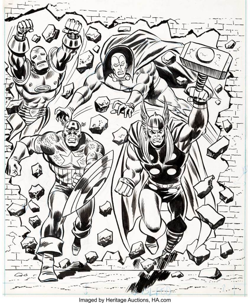 Avengers Annual 1975 Cover Original Art (Marvel UK, 1975). Most of these annulas at the time were adapted from style guide art by a variety of artists. David Roach suggests the art is by Ron Wilson, inked by Frank Giacoia. The annual itself reprinted Avengers #110-112