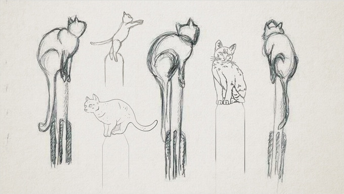 Early statue designs for the memorial to Félicette, the First Cat in Space