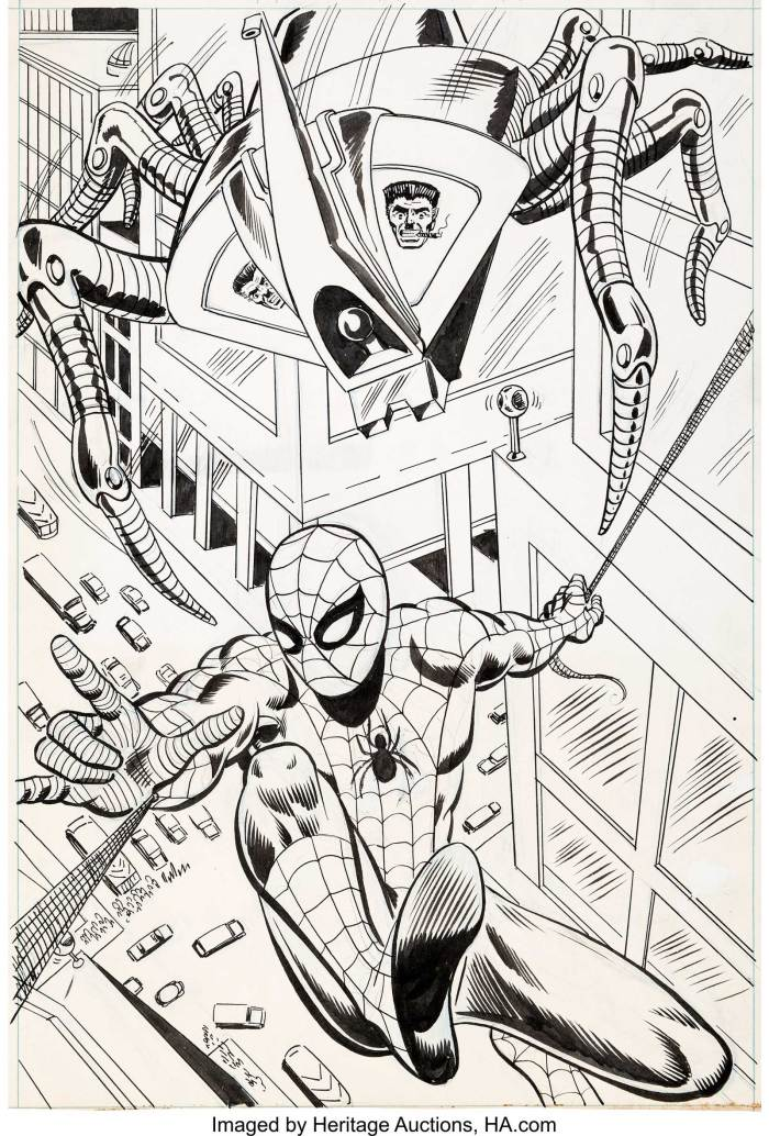 The splash page from Spider-Man Comics Weekly #149 published by Marvel UK in 1975, issue cover dated 20th December 1975. J. Jonah Jameson's Spider-Slayer robot is hot on the heels of Spidey as part of the title's ongoing reprinting of Amazing Spider-Man #105.