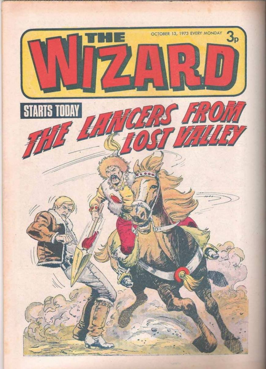 Carlos Ezquerra's first cover for DC Thomson's Wizard, cover dated 13th October 1973. With thanks to Colin Noble