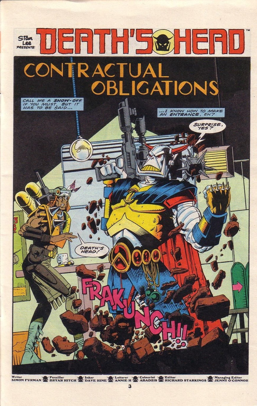 The opening page of Marvel UK's Death's Head #2, art by Bryan Hitch, inked by David Hine, published in 1989