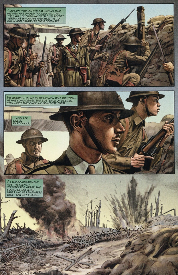 "Back in 2008, when David Hine was writing Spawn for Todd McFarlane and Image Comics, he was using one-off stories to explore the ancestry of Spawn alter-ego Al Simmons and his family. One of those stories was set in the First World War at the Battle Of the Somme. ""Artist, Mike Mayhew, pulled out all the stops on this one, hiring actors to pose in costume for the sake of authenticity. Though some of the events are obviously fictional as you can see from the cover, the descriptions of the battle are accurate,"" says David."