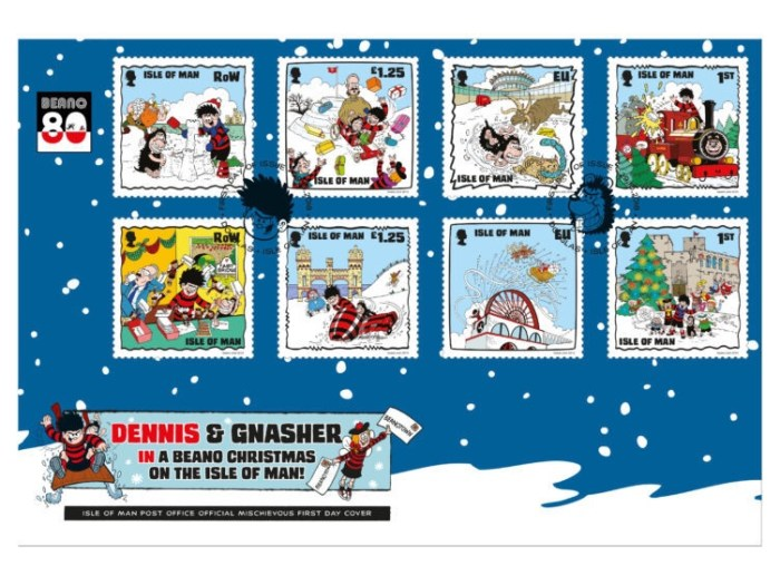 Isle of Man Beano Christmas Stamps 2018