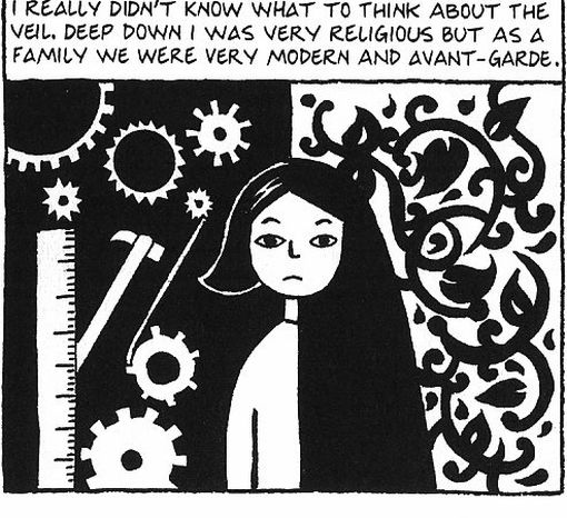 A scene from Persepolis by Marjane Satrapi, published in English by Jonathan Cape