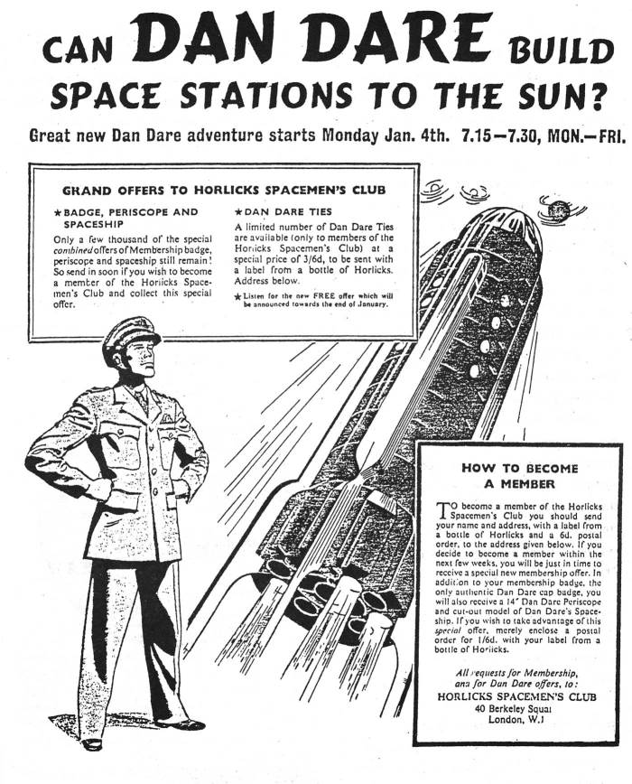 "An advertisement for the 1954 The Adventures of Dan Dare radio serial, ""Attack on the Space Stations"""