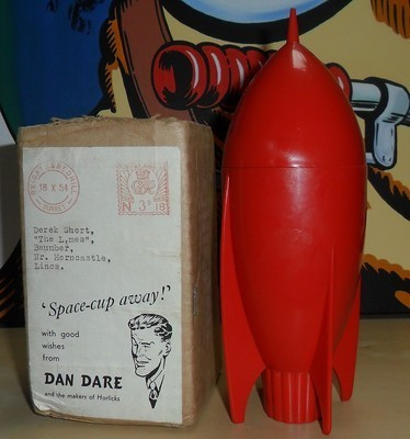 The Horlicks Dan Dare cup from 1954. Via eBay