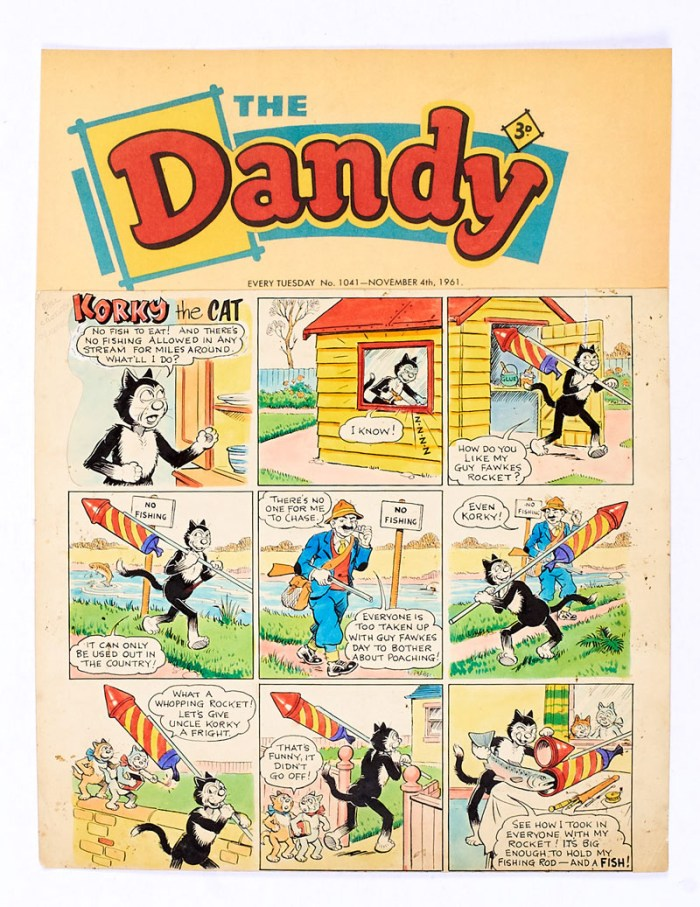 Dandy/Korky The Cat original front cover artwork by Jimmy Chrichton from The Dandy fireworks issue No 1041 (cover dated 4th November 1961). Fishy firework foolery! Bright poster colour and Indian ink on cartridge paper. 19 x 14 ins. 'The Dandy' header is a laser colour copy