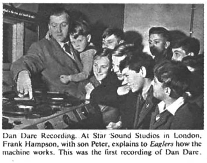 A photograph of Dan Dare creator Frank Hampson with his son Peter in the Star Sound Recording Studios, from Eagle cover dated, 10th April, 1952 (Volume 3, No. 1).