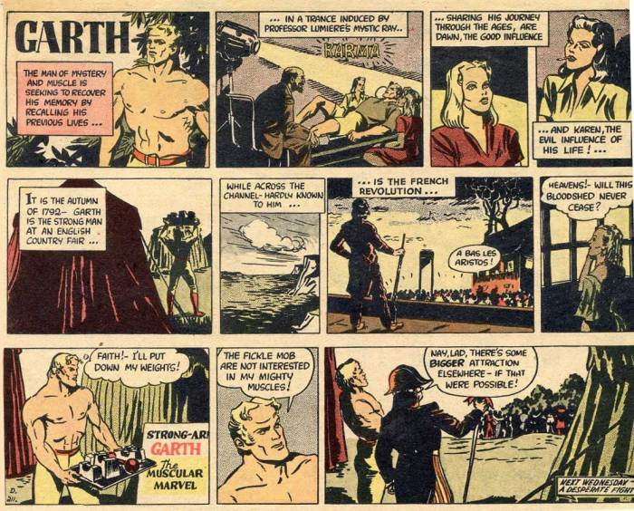 "The first overseas reprint of Garth, in Australia, from The Argus Woman's Magazine (6th March 1946). The opening panel was not from the Daily Mirror: it was especially created for this first overseas syndication, in Australia. It appears nowhere else. The Argus story opens with the second panel of the seventh and final adventure of ""The Seven Ages of Garth"". © 2018 MGN Limited"