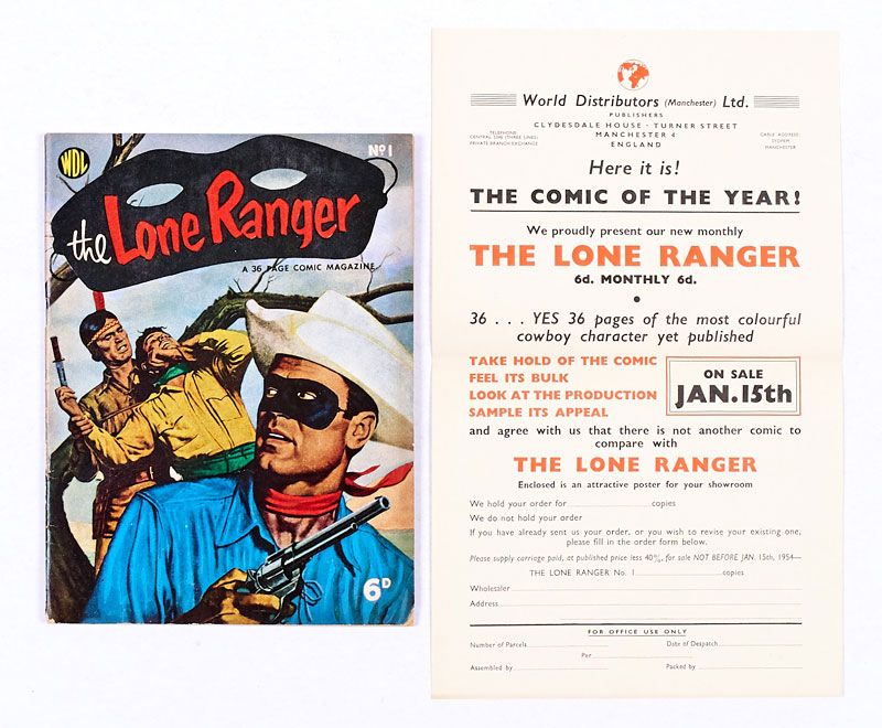 Lone Ranger 1 (WDL 1953) with original WDL newsagents' order form