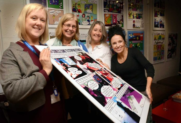 From left: Alison Dodd, Jane Meacham and Diane Sheron from Stepping Stones with The Dukes Creative Learning and Outreach Manager, Vicky Fletcher at the exhibition. Photo courtesy The Dukes, Lancaster