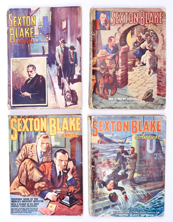 Sexton Blake Annual (1938, 1940-42) 1-4. Only these four annuals were published, there was no annual for 1939. 164 pages omnibus editions with No 1 starring Sexton Blake against Raffles and No 4 with Blake co-opted into the Secret Service and fighting on the deck of a U-Boat