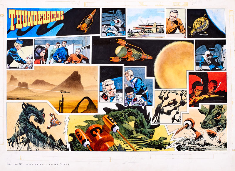 Thunderbirds original double-page artwork (1966) drawn, painted and signed by Frank Bellamy for TV Century 21 No 90 1966. From the Bob Monkhouse Archive. The front cover of the comic screamed, 'Nightmare Splashdown for Crippled Ship - Monster Attacks Thunderbird 3!' And here is Bellamy's brilliant double-page artwork to prove it! The 'Thunderbirds' logo is an unattached laser colour copy, as are all the word balloons and the original comic which are part of this lot. Bright, fresh Pelikan inks on board. 28 x 20 ins.