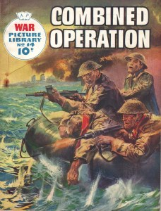 The final cover of War Picture Library 14, the background amended by the publisher. Art by Giorgio de Gaspari