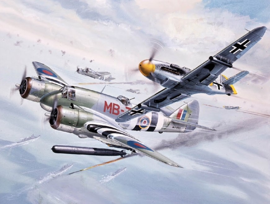 This Beaufighter plus Messerschmidt Bf 109-G art was first utilised on Airfix boxes in 1966