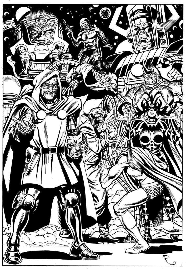 Art by David Roach. Artwork commissioned An unpublished to mark an appearance by Stan Lee at London Film and Comic Con. Published here with the kind permission of the artist