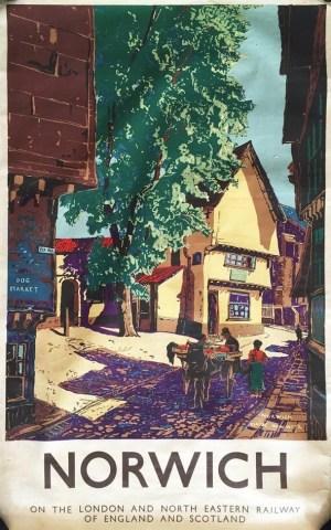 Elm Hill, Norwich - LNER/LMS Poster by Claude Muncaster