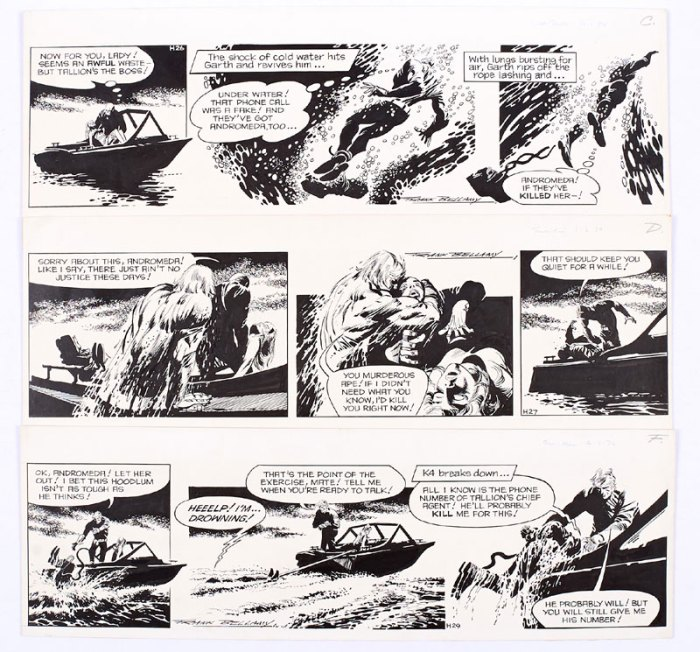 Three consecutive strips of Garth for the Daily Mirror by FRank Bellamy