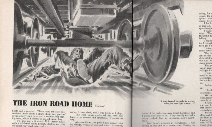 "Wide World June 1962 p306-307, ""The Iron Road Home"" by Frank Cordner"