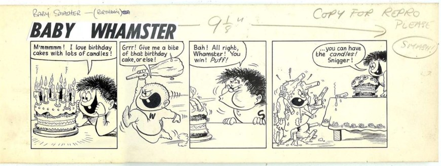 """Original art for """"Baby Whamster"""" by Terry Bave """"Donovan's Dad"""" for Cor Issue One by Terry Bave © Rebellion Publishing Ltd"""