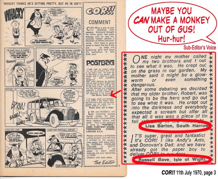Terry Bave (based on the Isle of Wight) and Lezz Barton (in South Harrow) were both regular contributors to Cor! While having a clearout of old boxes a couple of years ago, comics editor Dez Skinn came across this little gem from his days as the title's sub, which rather contradicts Editor Bob Paynter's introduction!