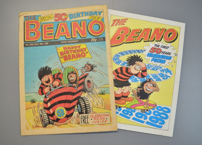The Beano cover dated 30th July 1988, the Special 50th Birthday issue, complete with Beano poster