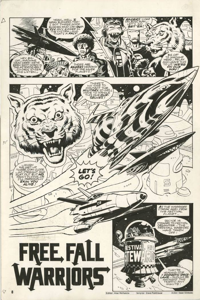 "A page from ""FreeFall Warriors"" which first appeared in Doctor Who Monthly #57. Story by Steve Parkhouse, art by Dave Gibbons"