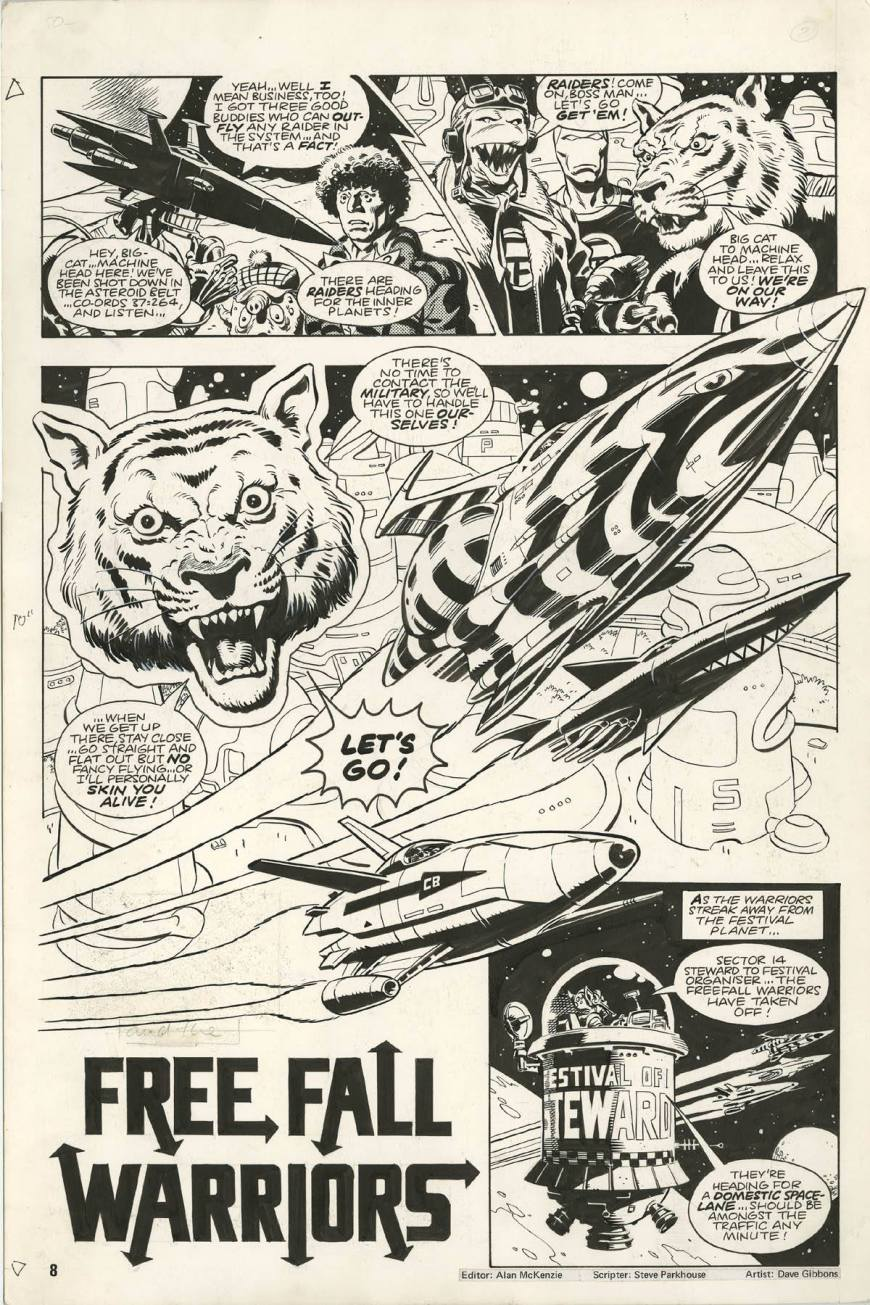 """A page from """"FreeFall Warriors"""" which first appeared in Doctor Who Monthly #57. Story by Steve Parkhouse, art by Dave Gibbons"""