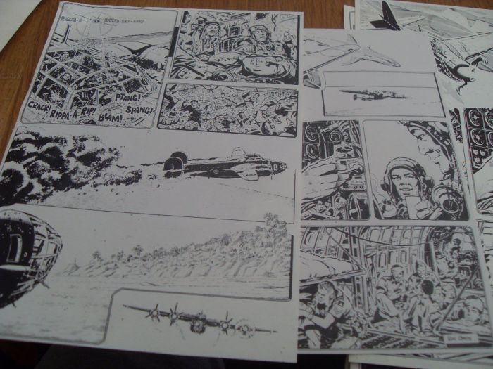 Some of the art from a comics project put together in 1979 by Ron Holland, featuring art by Ron Smith