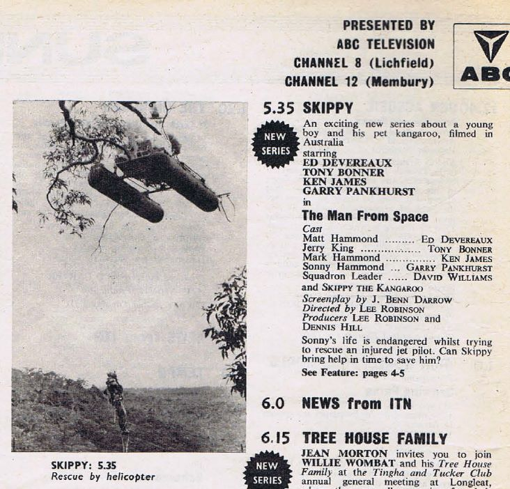 """Listing for the first episode of """"Skippy the Bush Kangaroo"""" in the UK on ABC Midlands, Sunday 8th October 1967, from TV World magazine"""